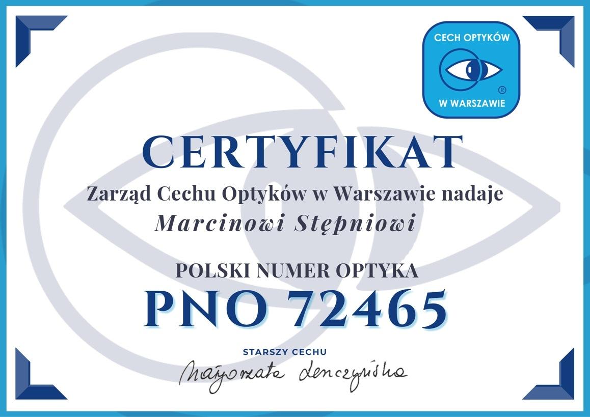 Certyfikat zarządu cechu optyków w Warszawie
