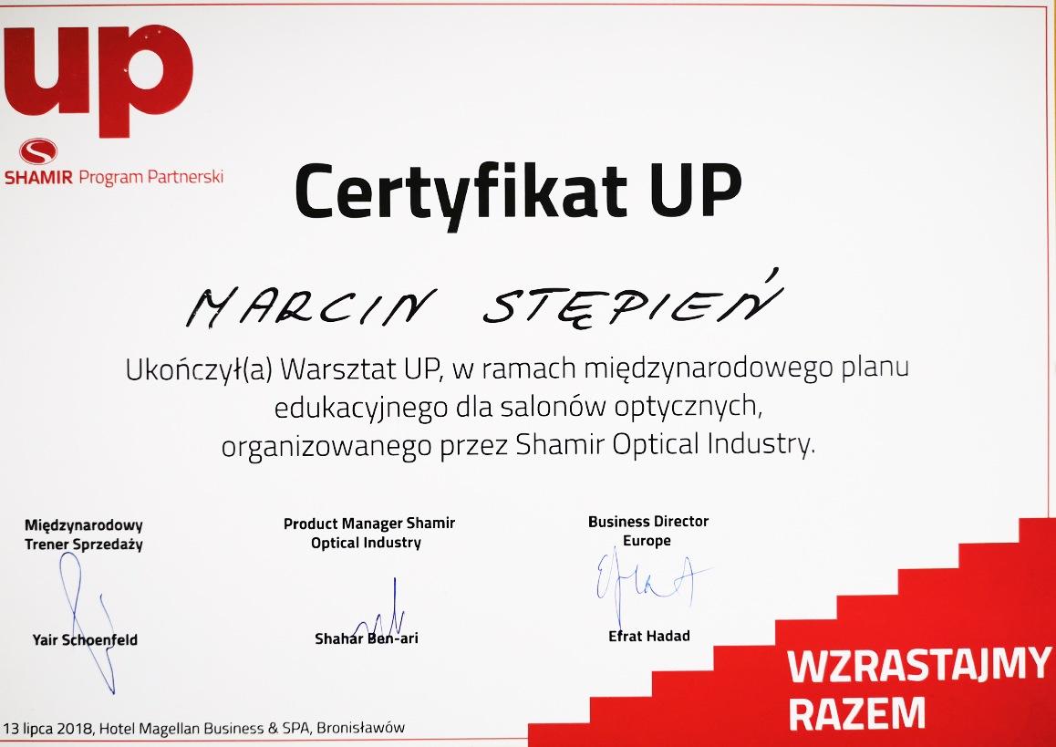 Certyfikat z warsztatów UP dla salonów optycznych