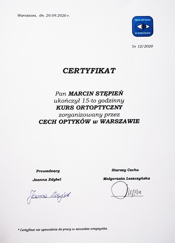 Certyfikat z kursu optycznego