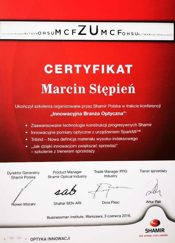 Certyfikat z konferencji innowacyjna branża optyczna